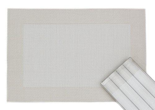 Sets de Table élégants et solides en lot de 4 en plastique tissée (45 x 30 cm) blanc-argent