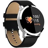 ZfgG Runde Bildschirm Smart Watch Wasserdichte Schrittzähler Sport Telefon Informationen Erinnerung Armband Herzfrequenz-Überwachung Perfekter Wohnassistent ( Farbe : Silver leather )