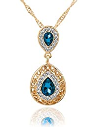 Glitz Womens Crystal Stud Pendant Gold Plated Long Chain Necklace For Girls