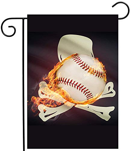 CHKWYN Baseball Ball Pirater Skull Garden Yard Flag Double Sided, Polyester Jolly Roge Crosseds Skeleton Welcome House Flag Banners for Patio Lawn Outdoor Home Decor Size: 12.5-inches W X 18-inches H Cocker Spaniel Baseball