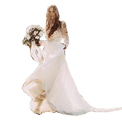 VIKEBRIDAL Damen Juwel Boho Hochzeitskleid Chiffon Lange Ärmel A-Linie Zum Frau Champagner 36