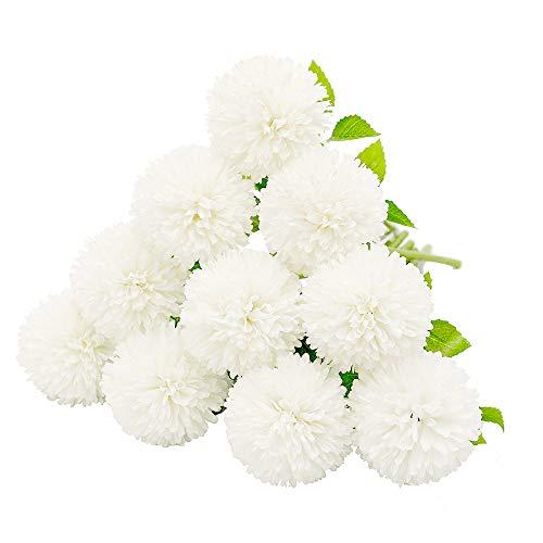Justoyou seta artificiale fiori finti dente di leone ortensia floreale bouquet per matrimoni, festa di compleanno, decorazione della casa(bianco, 10pcs)