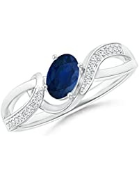 Solitaire Oval Sapphire Twisted Ribbon Ring with Pave Diamond Accents (6x4mm Blue Sapphire)