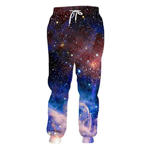 cilily Mode-Galaxie-Raum-Stern-Stern-Jogger keucht Frauen/Männer kühle 3D gedruckte Sweatspant Sweatpants lustige Haifisch-Hose Galaxy Space Starry XXXL (Mann Essen Haifisch)