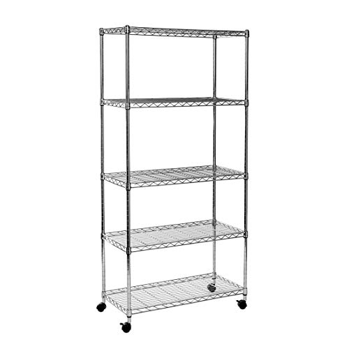 Seville Classics ultrazinc 5-Shelf Draht Regal Rack mit Rollen, Chrom, Steel Wire, 5-Shelf -