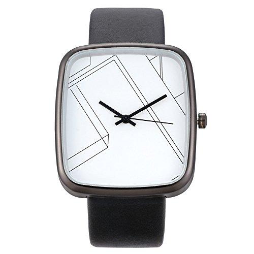 Deloito Damen Uhr Mode Lederband Schnalle Uhren Einfaches Analog Quarz Runde Armbanduhr (C)