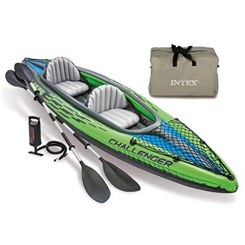 Festnight Aufblasbares Kayak | Aufblasbare Kajak | Schlauchboot | Grün Vinyl | 351x76x38 cm 180 kg