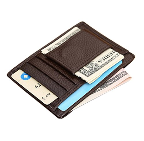Geldbörse, Rcool Mens Wallet Credit ID Card Inhaber schlanke Geldbörse (Braun) Braun