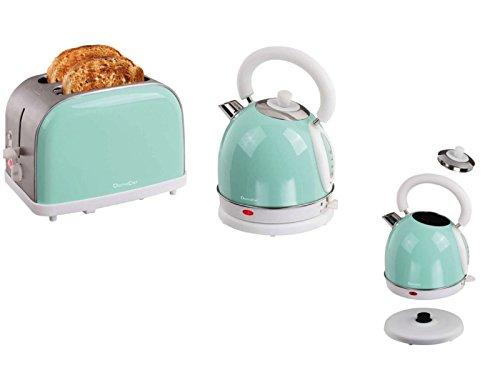 Frühstücks-Set 2 tlg Edelstahl 2-Schlitz-Toaster Wasserkocher 1,8 Liter im Vintage-Design (Teekessel, Retro, 50er Jahre-Stil, Kabellos, Kalkfilter, Hell-Blau)