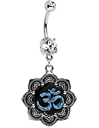 Body Candy Stainless Steel Clear Accent Lotus Blue Ohm Belly Ring Created with Swarovski Crystals