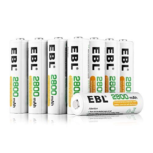 EBL AA Batteria ricaricabile ad alta capacità da 2800mAh Ni-MH , comfezione da 8 pezzi