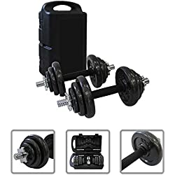 Todeco - Dumbbell Set , Adjustable Weight Set - Bar material: Chrome steel - Handle material: Natural rubber - Black, 44 lbs, Cast iron, with Black case