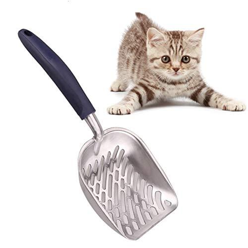Katzenstreu Schaufel Metall Schaufel, Gummigriff Wurfschaufel Werkzeug Reinig Alu Edelstahl für Hund Katze Kaninchen Haustier 35cm*14cm