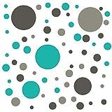 timalo Wandtattoo selbstklebende Punkte Aufkleber bunte Kreise | 73071-Tricolore-Dgrau-grau-tuerkis-81