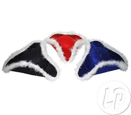 Lot / Set von 6 Stück - schwarz tricorn Hut Cheerleader (Tricorn Schwarz)
