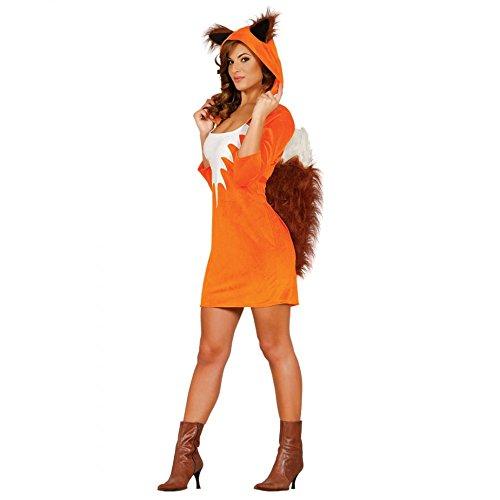 Erwachsene Eichhörnchen Kostüme (Damen Kostüm Fuchs Gr. M/L Kleid mit Kapuze Tierkostüm Eichhörnchen)