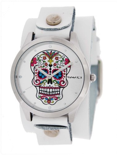 Nemesis #WGB925S Women's White Wide Leather Band With Tatto Skull Watch