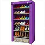 Wanforjewellery Scarpiera Armadio, Portascarpe Pieghevole a 7 Ripiani Scarpiera Mobiletto, Tessuto Impermeabile Fila 125 * 60 * 30cm,Purple