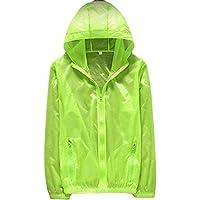 Men Jacket Home Chaqueta con Capucha para Hombre Piel con Cremallera Lluvia Cremallera Delantera Windbeaker (Color : Fluorescent Green, Size : X-Large)