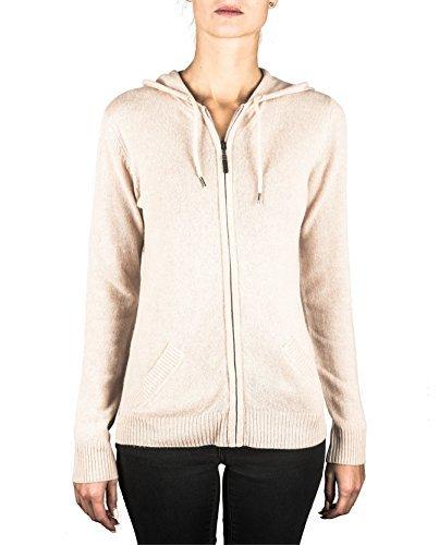 100% Kaschmir Damen Kapuzenpullover | Hoodie mit Reißverschluss (Beige / Washed Ecru, XXL)