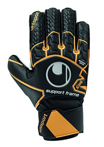 uhlsport Soft Resist Supportframe Torwarthandschuh Herren, schwarz/Fluo orange/Weiß, 8