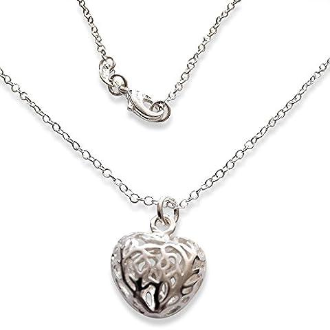 Argent 925 Collier Pendentif Coeur en filigrane dans l'encadrŽ cadeau