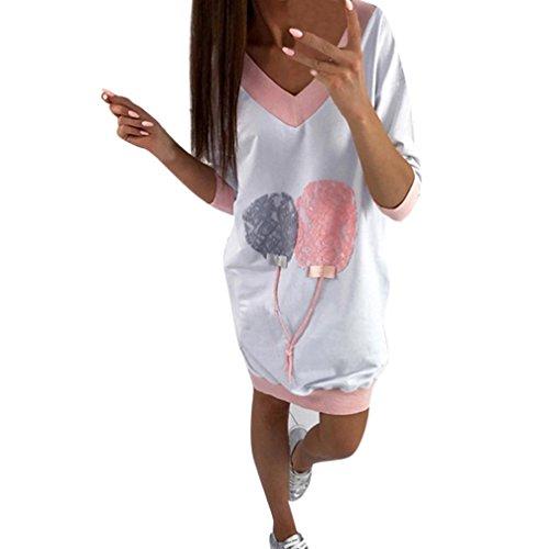 Mode Sweatshirt Kleid Damen, DoraMe Frauen V-ausschnitt Locker Bluse Mini Kleider Lässig T-shirt Lange Pullover (Rosa, L)