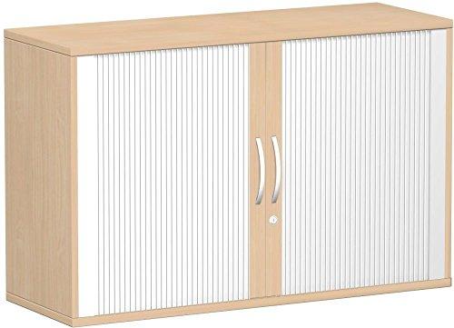 Querrollladenschrank - Büroschrank aus Holz Silber/Buche