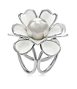 Camellia Flower White Pearl Twisted Triple Rings Scarf Clasp Fastener Silver Plated For Girls Women