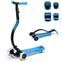 LBLA Kids scooter, Arkmiido Kick Scooter for Kids with Protective Gear, Anti-Collision for Safety, Flashing LED Wheels, Foldable and Adjustable Heights for Children Aged 3+