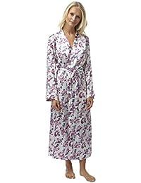 078e64b6a5 Indigo Sky Ladies Satin Wrap Over Robe Dressing Gown. Ivory Purple Teal