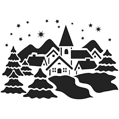 Laser-Kunststoff-Schablone, DIN A4, Weihnachten, Wintermotive | Kreative Wandgestaltung, Fenster, Textilien, Papier, Scrapbooking (Winterdorf)