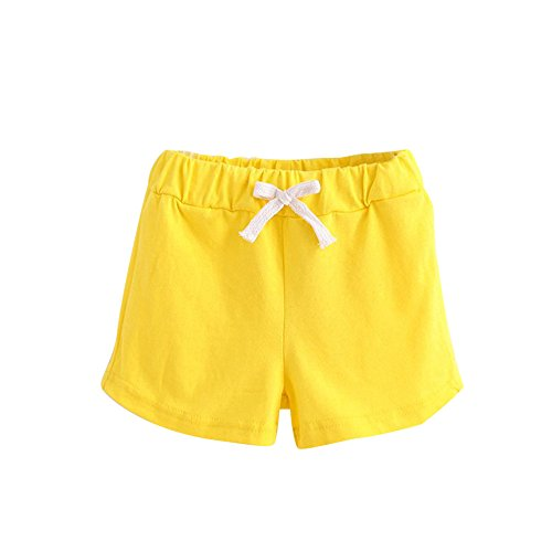 Honestyi BabyBekleidung Kinder Sommer Baumwolle Shorts Sommer Kinder Baumwolle Shorts Jungen und Mädchen Kleidung Baby (110,Gelb)