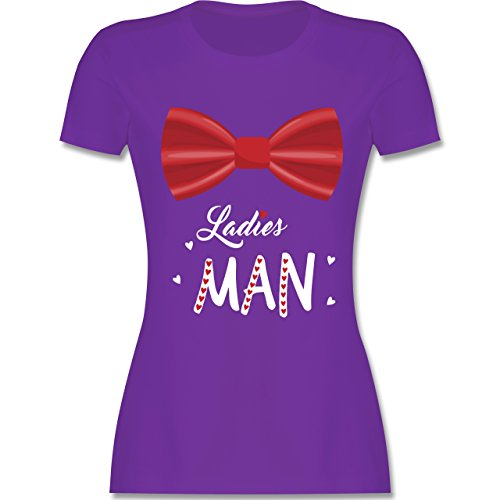 Shirtracer Valentinstag - Ladies Man - Damen T-Shirt Rundhals Lila