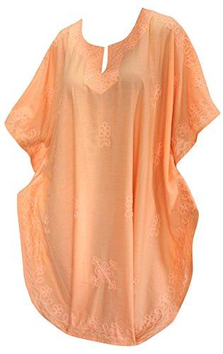 La Leela Frauen Kaftan Strand Tunika lange Strandmode Bikini-Vertuschung Bluse Kimono kurz bis 15 olors Maxi-Kleid zu wählen Orange