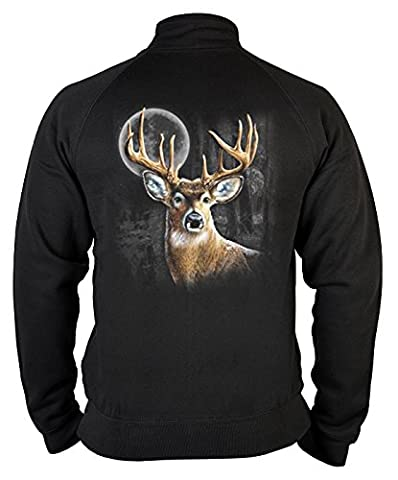 Pop Art Sweater ::: Deer in the Moonshine Wilderness ::: für Jäger mit Zip und Motiv auf der