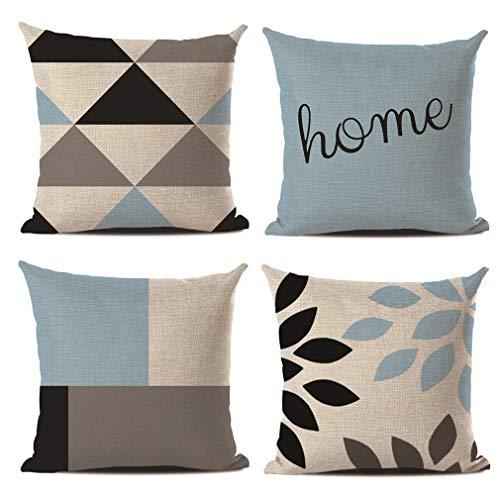 BEDLININGS Kissenbezug,4 Stücke Blau Geometrische Muster Baumwolle Leinen Dekokissen Fall Dekorative für Sofa Garden Home Dekore 18X18 Zoll 45X45 cm,A