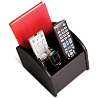 Ralph TV Remote Control Spinning Caddy - Revolving Wood Valet Organiser for Television Remotes - Black