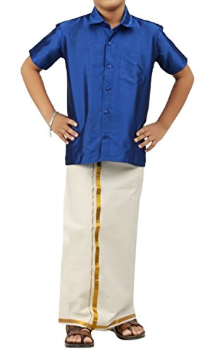 Luke and Lilly Boys Silk Cotton Dhoties and Shirt - Blue
