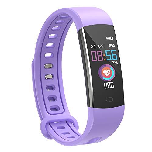 moreFit Fitness Tracker Kinder, Schrittzähler Uhr Fitness Armband mit Pulsmesser Schlafmonitor Stoppuhren Wasserdicht IP67 GPS Aktivitätstracker für Damen Herren Kinder (Lila)