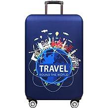 Luggage cover Housse de Valise élastique Double côté Ouverture Fermeture éclair Boucle Fixe Anti-poussière Lavage Impression numérique Housse de Protection pour Toute la Taille Accessoires de voyage