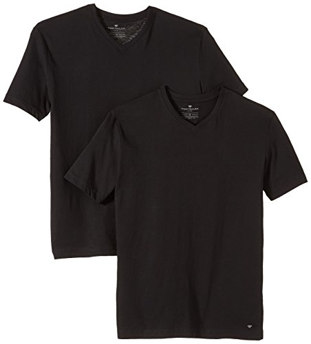 TOM TAILOR Herren T-Shirt double pack v-neck, Gr. Large, Schwarz (black 2999)