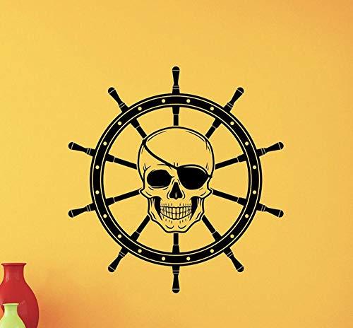 Wandaufkleber Piraten-Schädel-Schiffs-Rad-Kinderzimmer-Dekor-Seeaufkleber-Kinderzimmer-Anime-Tapete 42 * 44Cm (Dekor Piraten-kinderzimmer)