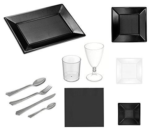 Set de fiesta vajilla desechable Blanco y Negro ideal para cenas de 12 personas - Colección especial