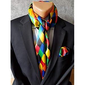Karneval/Fasching Set bestehend aus Schal und Einstecktuch - Bunt mit Routen Muster