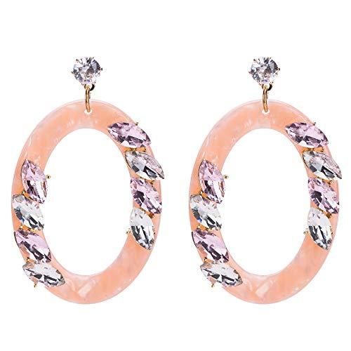 ZHWM Ohrringe Ohrstecker Ohrhänger Kristall Baumeln Ohrringe Rosa Farbe Spektakel Auge Strass Acryl Ohrringe Neuheiten Schmuck