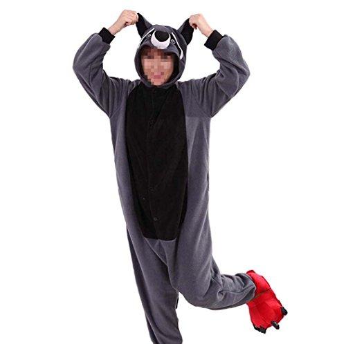 Pyjamas Damen Grau Waschbär Erwachsene Unisex Animal Cosplay Overall Pajamas Anime Schlafanzug Jumpsuits Spielanzug (Männer Für Kostüme Anime)