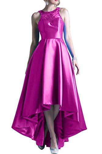 Gorgeous Bride Fashion Rundkragen Satin HiLo Tüll Lang 2017 Damen  Partykleider Abendkleider Lang Cocktailkleider Ballkleider Fuchsia
