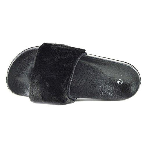 Kick Footwear - DONNA SLIPPER SLIP ON FLAT CURSORE MULI PELLICCIA CIABATTA SANDALI SCARPE Nero