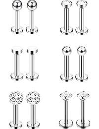 6 Paires Nez Goujons en Acier Inoxydable Tragus Bars Labret Boule de Labret Corps Piercing Bijoux, 6 Designs, 16 Gauge